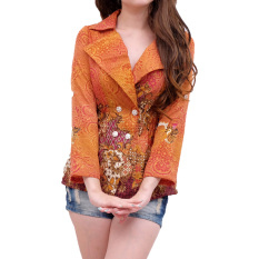 Jual Femme Blazer Batik Gliter 86 Golden Yellow Satu Set