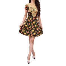 Harga Femme Mini Dress Flowery Wedges Black Di Indonesia
