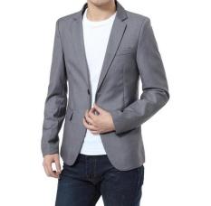 FENGZHIL Pria Pernikahan Perapi Set Formal Fashion Slim Fit Gaun Bisnis Suits Pesta Masculino Setelan Pakaian Dua Tombol Grey- INTL