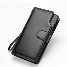 Dompet Gaya Korea Panjang Dompet Pria Kulit Sintetis Tangan Casing Kredit Kartu Koin Pemegang With Tangan Tali - Black