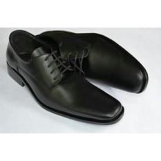 Harga Sepatu Kerja Pria Kantor Pantofel Kulit Sintetis Model Tali Black Termurah
