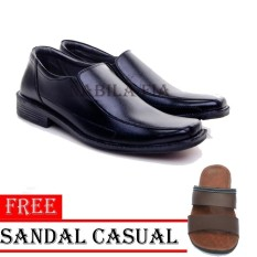 Fianabila Sepatu Pantofel Pria Kerja Formal Kulit Sintetis - Black Free Sandal Casual