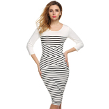 Harga Finejo Kasual Wanita Leher O 3 4 Lengan Patchwork Striped Bodycon Gaun Putih Intl Intl New