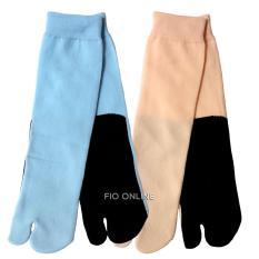 FIO ONLINE - Kaus Kaki Jempol Wanita Muslimah - Polos - Kaos telapak Hitam 2 Pcs - Biru dan orange