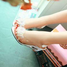 Beli Ikan Mulut Sandal Musim Panas Wanita Baji High Heels Transparan Kristal Sepatu Bunga Manis Plus Ukuran Ladies Elegan Sepatu Murah