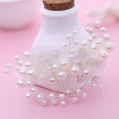 Harga Fishion Pearl Flower Handmade Bridal Crown Wedding Hair Jewelry Crystal Tiara For Woman Gift Intl Online Tiongkok