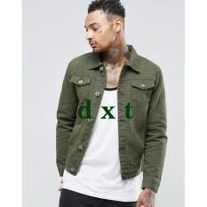 Ongkos Kirim Jaket Jeans Denim Pria Hijau Green Premium Di Jawa Barat