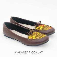 Flat Shoes Etnik Batik Tenun Wanita - Makassar Coklat