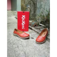 Flat Shoes Kickers Wanita Original Leather Orange Terbaru