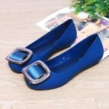 Beli Flat Shoes Tahan Air Tergelincir Set Kaki Sandal Sepatu Jelly Biru Sepatu Wanita Sendal Wanita Baru