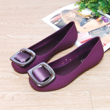 Beli Flat Shoes Tahan Air Tergelincir Set Kaki Sandal Sepatu Jelly Ungu Kredit Tiongkok