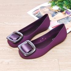 Jual Flat Shoes Tahan Air Tergelincir Set Kaki Sandal Sepatu Jelly Ungu Di Bawah Harga