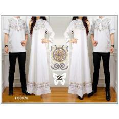 Flavia Store Baju Muslim Couple Bordir FS0076 - PUTIH / Sarimbit / Batik Pasangan / Sepasang Busana Syar'i / Kemeja Koko Pria Gaun Muslimah Gamis Syari Wanita / Srelegant