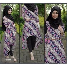 Flavia Store Baju Muslim Wanita Set 4 in 1 Batik FS0696 - NAVY BIRU DONGKER / Setelan Muslimah / Stelan Gamis / Hijab / Atasan Blouse Terusan Kemeja Tunik Lengan Panjang Bawahan Celana / Srsafiragelis