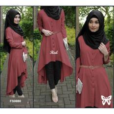 Flavia Store Baju Muslim Wanita Set 4 in 1 FS0690 - MERAH / Setelan Muslimah / Stelan Gamis / Hijab / Atasan Blouse Terusan Kemeja Tunik Lengan Panjang Bawahan Celana / Srsafira