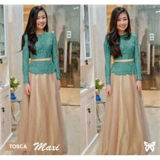 Flavia Store Maxi Dress Lengan Panjang Brukat FS0727 - TOSCA / Kebaya Modern / Gamis / Gaun Pesta Muslimah / Baju Muslim Wanita / Srdeva