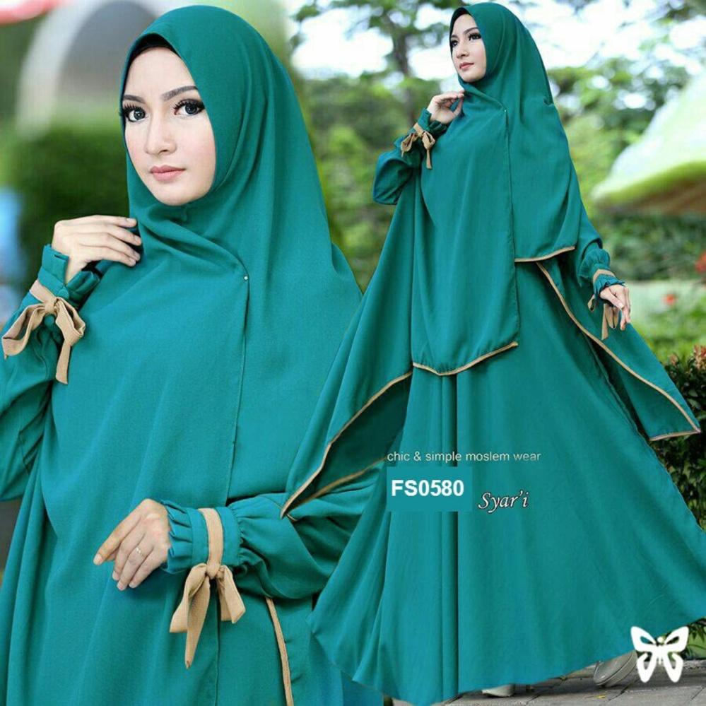Flavia Store Gamis Syari Set 2 in 1 FS0580 HIJAU TOSCA Baju Muslim Wanita