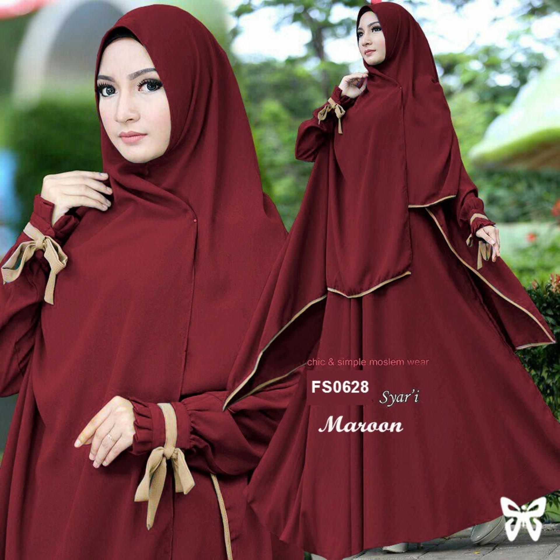 Ritsleting depan Flavia Store Gamis Syari Set 2 in 1 FS0628 - MERAH MARUN / Baju Muslim Wanita