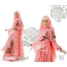 Flavia Store Gamis Syari Set 2 in 1 Bordir Bunga FS0659 - PEACH / Baju Muslim Wanita Syar'i / Gaun Pesta Muslimah / Maxi Dress Lengan Panjang / Hijab / Srrossy