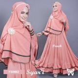 Beli Flavia Store Gamis Syari Set 2 In 1 Fs0662 Peach Baju Muslim Wanita Syar I Gaun Muslimah Maxi Dress Lengan Panjang Hijab Sramelia Baru
