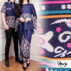 Flavia Store Batik Couple FS0061 - NAVY BIRU DONGKER / Sarimbit / Baju Pasangan / Sepasang Busana / Kemeja Pria Setelan Kebaya Modern Stelan Wanita / Tzcpyanti