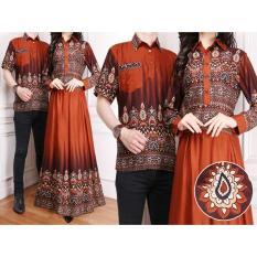 Flavia Store Batik Couple FS0173 - COKLAT / Sarimbit / Baju Muslim Pasangan / Sepasang Busana / Kemeja Pria Gaun Muslimah Gamis Wanita / Tzcpkartika