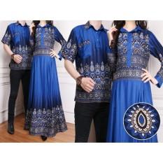 Flavia Store Batik Couple FS0174 - BIRU / Sarimbit / Baju Muslim Pasangan / Sepasang Busana / Kemeja Pria Gaun Muslimah Gamis Wanita / Tzcpkartika