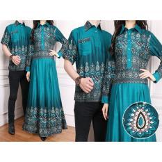 Flavia Store Batik Couple FS0175 - HIJAU TOSCA / Sarimbit / Baju Muslim Pasangan / Sepasang Busana / Kemeja Pria Gaun Muslimah Gamis Wanita / Tzcpkartika