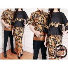 Flavia Store Batik Couple FS0249 - KUNING / Sarimbit / Baju Pasangan / Sepasang Busana / Kemeja Pria Setelan Kebaya Modern Stelan Wanita / Tzcplunamaya
