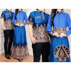 Flavia Store Batik Couple FS0281 - BIRU / Sarimbit / Baju Muslim Pasangan / Sepasang Busana / Kemeja Pria Gaun Muslimah Gamis Wanita / Tzcpmiranda