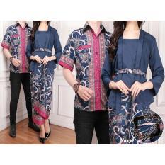 Flavia Store Batik Couple FS0291 - NAVY BIRU DONGKER / Sarimbit / Baju Pasangan / Sepasang Busana / Kemeja Pria Setelan Kebaya Kutu Baru Modern Stelan Kutubaru Wanita / Tzcpsinta