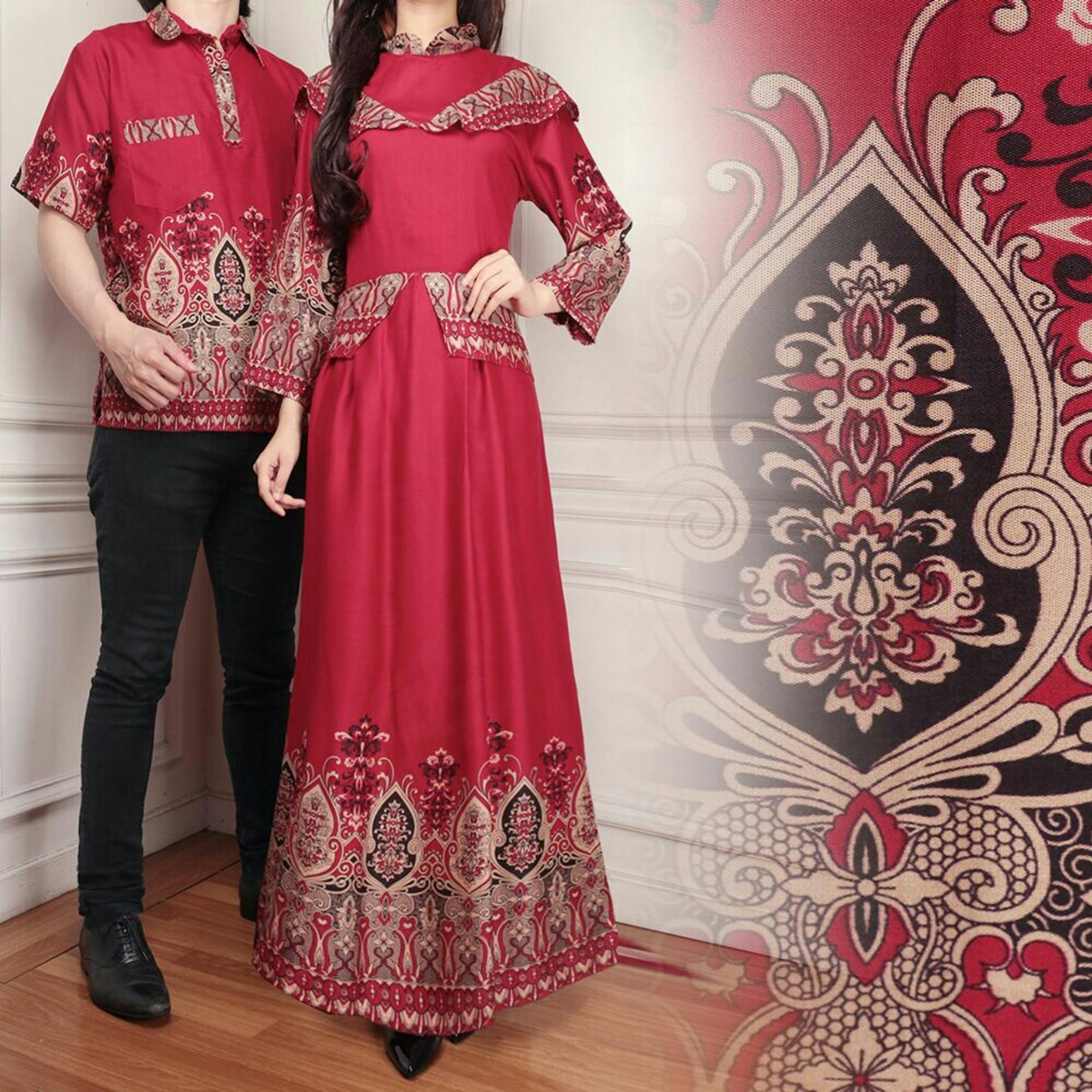 ... Busana / Kemeja Pria Gaun Muslimah Gamis Wanita / Tzcpcaca. Flavia Store Batik Couple FS0567 - MERAH MARUN / Sarimbit / Baju Muslim Pasangan / Sepasang