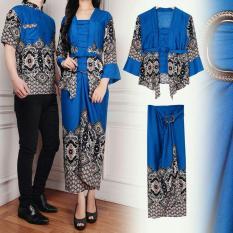 Flavia Store Batik Couple FS0604 - BIRU / Sarimbit / Baju Pasangan / Sepasang Busana / Kemeja Pria Setelan Kebaya Kutu Baru Modern Stelan Kutubaru Wanita / Tzcpmaulana