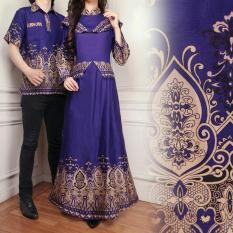 Flavia Store Batik Couple FS0639 - UNGU / Sarimbit / Baju Muslim Pasangan / Sepasang Busana / Kemeja Pria Gaun Muslimah Gamis Wanita / Tzcpcaca