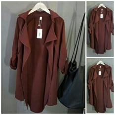 DeCouple Kemeja Wanita Lengan Panjang - MERAH MARUN / Baju Kerja Formal / Luaran Semi Jas Blazer / Atasan Polos / Rnbella