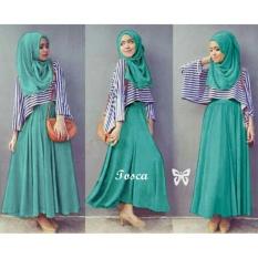 Flavia Store Maxi Dress Set 3 in 1 FS0039 - HIJAU TOSCA / Gamis / Gaun Panjang Muslimah / Baju Muslim Wanita / Hijab / Sriliana
