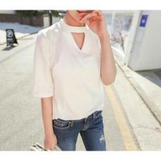 Beli Flavia Store Blouse Lengan Pendek Choker Fs0526 Putih Baju Santai Kasual Tali Leher Kemeja Kerja Wanita Formal Atasan Rnribkawhite Cicil