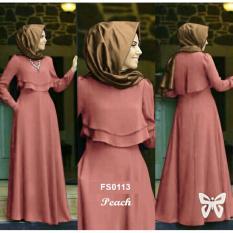 Flavia Store Maxi Dress Set 2 in 1 FS0113 - PEACH / Gamis Syari / Gaun Pesta Muslimah / Baju Muslim Wanita Syar'i / Srdahlia