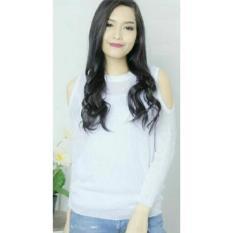 Beli Flavia Store Blouse Lengan Panjang Pundak Bolong Rajut Fs0206 Putih Baju Kaos Tshirt Wanita Bahu Sabrina Atasan Rnbbbahu Terbaru