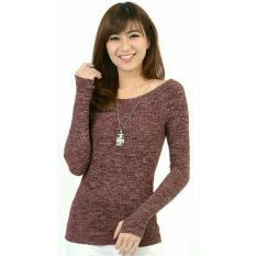 Beli Flavia Store Blouse Lengan Panjang Bahu Sabrina Roundhand Rajut Fs0209 Merah Marun Baju Kaos Tshirt Wanita Pundak Bolong Atasan Rnsabrinatwissrh Secara Angsuran