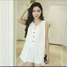 Jual Flavia Store Blouse Tanpa Lengan Fs0276 Putih Baju Rompi Kemeja Yukensi Wanita Atasan Rncardyrompi Online