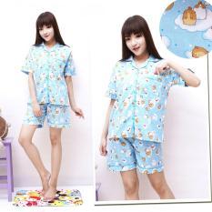 Flavia Store Setelan Piyama Pendek Wanita Motif Kartun FS0047 - BIRU / Stelan Baju Celana Tidur Katun Jepang / Tzdaisy