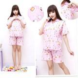 Spesifikasi Flavia Store Setelan Piyama Pendek Wanita Motif Kartun Fs0048 Pink Stelan Baju Celana Tidur Katun Jepang Tzdaisy Terbaru