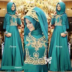 Flavia Store Maxi Dress Lengan Panjang Set 2 in 1 FS0023 - HIJAU TOSCA / Gamis Syari / Gaun Pesta Muslimah / Baju Muslim Wanita Syar'i / Hijab / Srprincess