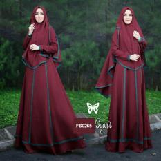 Toko Flavia Store Gamis Syari Set 2 In 1 Fs0265 Merah Marun Baju Muslim Wanita Syar I Gaun Muslimah Maxi Dress Lengan Panjang Hijab Srjanetta Online