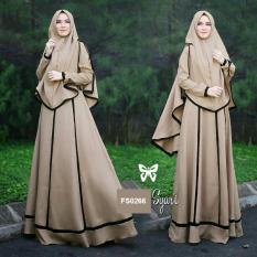 Flavia Store Gamis Syari Set 2 in 1 FS0266 - COKLAT MOCCA / Baju Muslim Wanita Syar'i / Gaun Muslimah / Maxi Dress Lengan Panjang / Hijab / Srjanetta