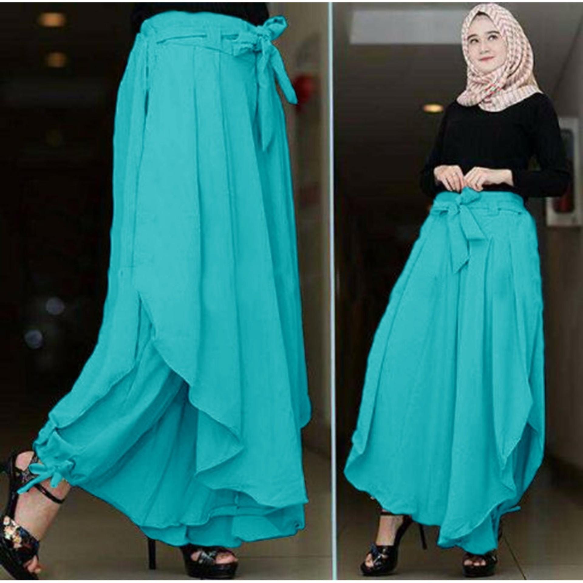 Flavia Store Celana Panjang Wanita FS0143 - BIRU   Kulot Rok Muslim Aladin    Bawahan Muslimah c68c9232cb