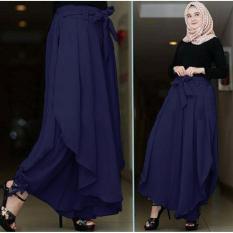Flavia Store Celana Panjang Wanita FS0145 - NAVY BIRU DONGKER / Kulot Rok Muslim Aladin / Bawahan Muslimah / Tztalita