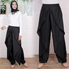 Flavia Store Celana Panjang Wanita FS0728 - HITAM / Kulot Joger Muslim Aladin / Bawahan Muslimah / Tztiara