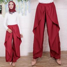 Flavia Store Celana Panjang Wanita FS0730 - MERAH MARUN / Kulot Joger Muslim Aladin / Bawahan Muslimah / Tztiara